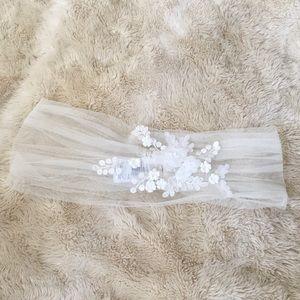 David's Bridal Ivory Tulle off the Shoulder Wrap